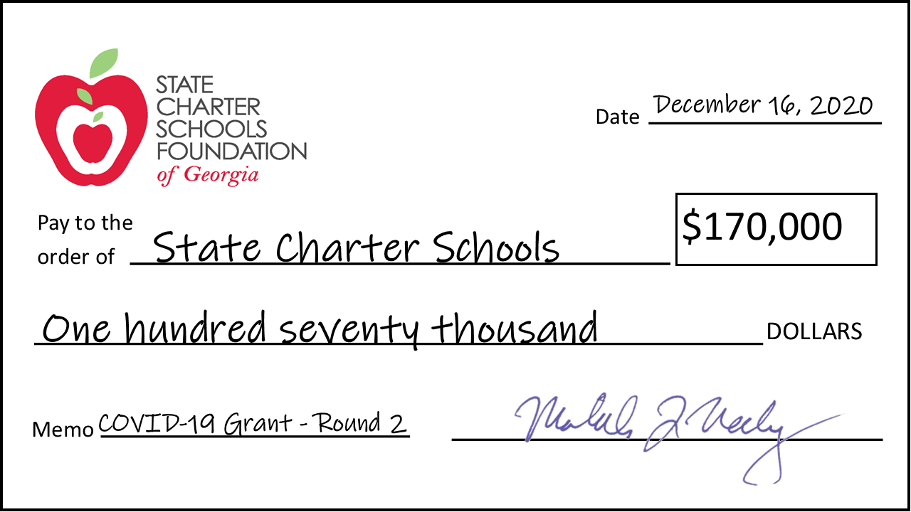 Grant Check to Charter Schools
